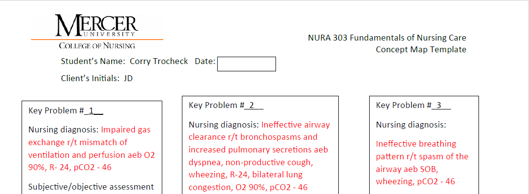 Fundamentals Of Nursing (NURA 303) Concept Map Asthma Case ...